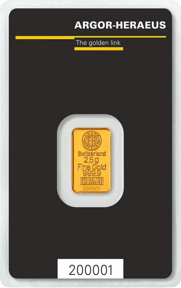Купить золотой слиток Argor Heraeus 2.5г онлайн в Украине